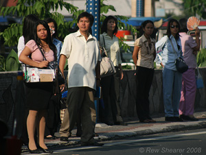 Commuters on Buendia, Pasay, Manila